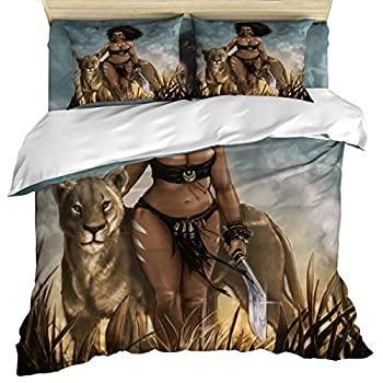 Image of Anzona 4 Piece Bedding Set Include 1 Comforter/Quilt Cover California King, Africen Tribal Princess with Lion Bedspread Daybed with Zipper Closure with 2 Pillow Sham Cases