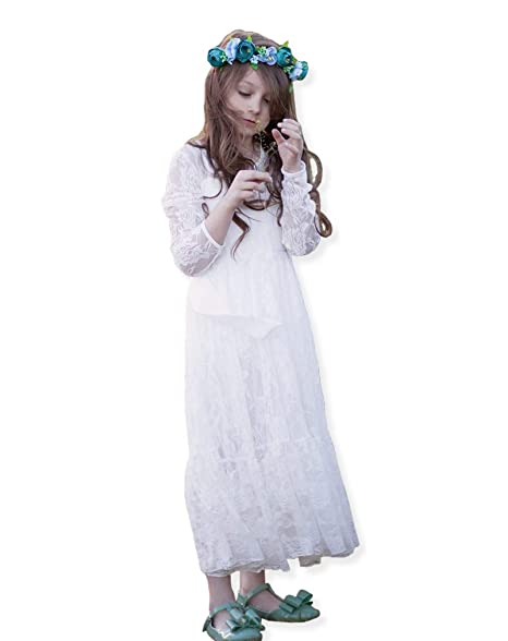 Girl bridesmaid Lace Long Dress-VYU Age 2-12 Prom boho maxi Flower girl