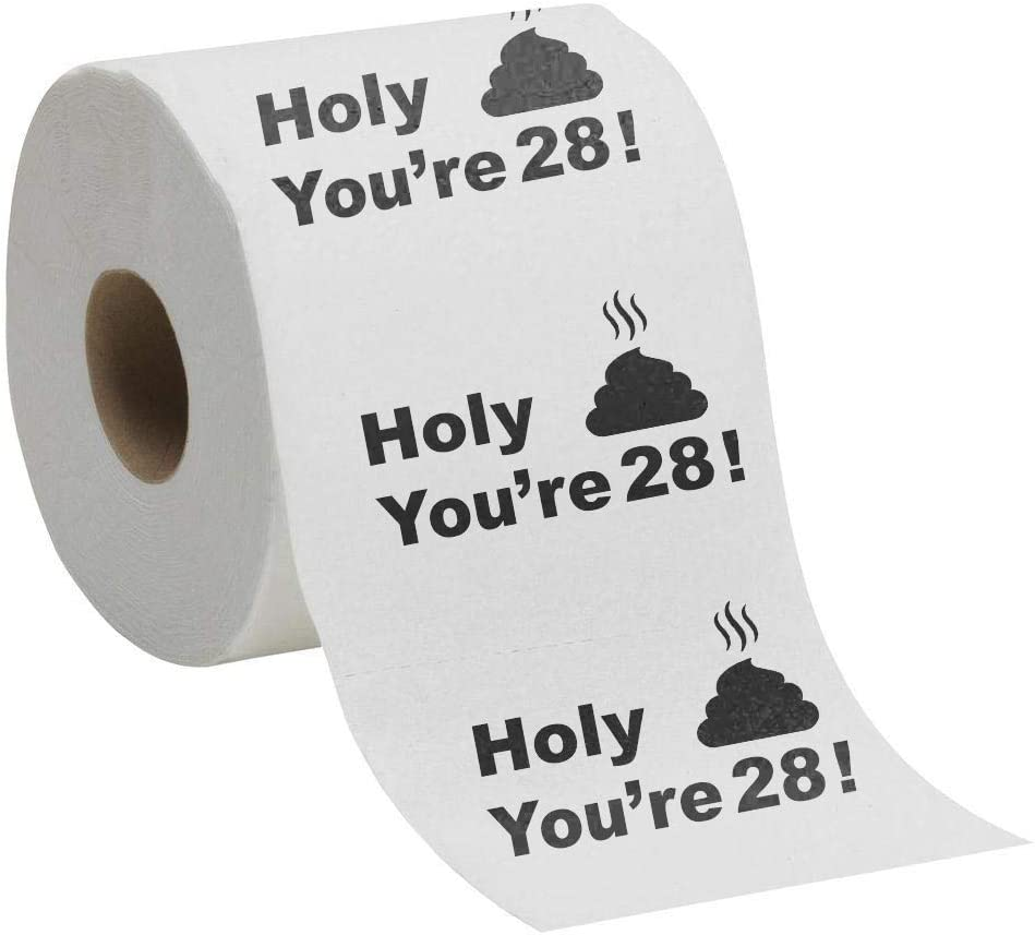 28th Birthday Gift Present Toilet Paper - Happy Twenty Eighth 28 Prank Funny Novelty Gag Joke Gift - Holy Crap