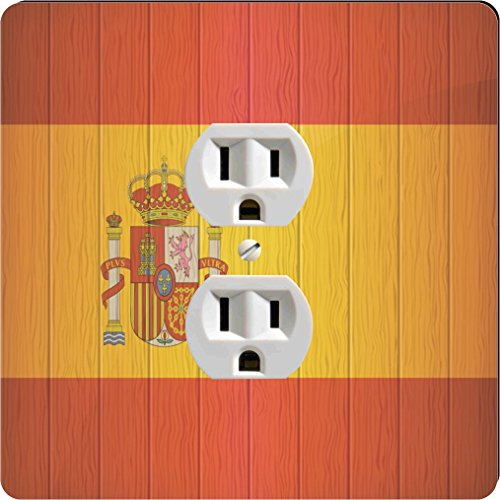 Rikki Knight 8561 Outlet Spain Flag On Distressed Wood Design Outlet Plate by Rikki Knight