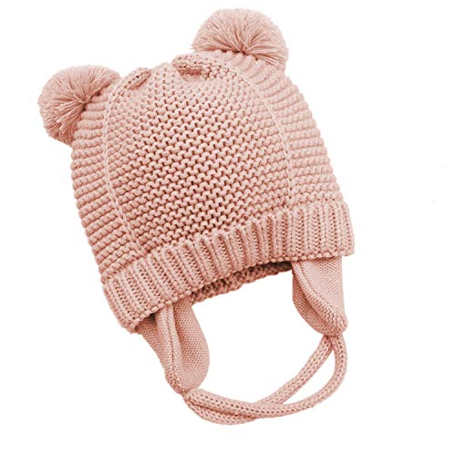 Bestjybt Baby Hat Cute Bear Toddler Earflap Fleece Lined Beanie Warm for Fall Winter (Pink, 10-18 Months)
