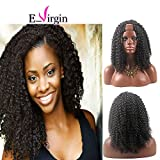 Virgin Hair Factory Kinky Curly U Part Brazilian Virgin Remy Human Hair Wigs 1B# Natural Black 12