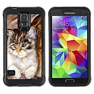 LASTONE PHONE CASE / Suave Silicona Caso Carcasa de Caucho Funda para Samsung Galaxy S5 SM-G900 / Maine Coon Kitten Small Feline