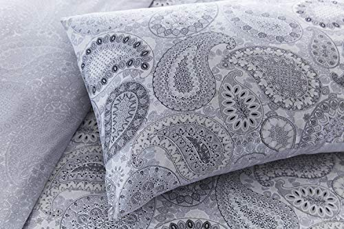 Pieridae Paisley Grey Duvet Cover & Pillowcase Set Bedding Digital Print Quilt Case Bedding Bedroom Daybed (King)