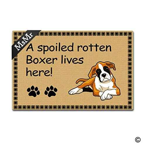 Boxer Door Mat - MsMr Door Mat Funny Entrance Floor Mat A Spoiled Rotten Boxer Lives Here! Doormat Home Decorative Indoor Ourdoor Doormat 30x18 Inch