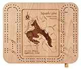 Mirror Lake in Jackson, MI - Cribbage Board 9 x 12 IN - Laser etched wood nautical chart and topographic depth map.