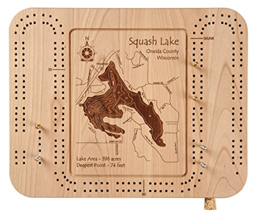 Lakes Region (Newfound, Winnisquam, Squam, Winnipesaukee, Wentworth...) in , NH - Cribbage Board 9 x 12 IN - Laser etched wood nautical chart and topographic depth - Lakeside Orleans New