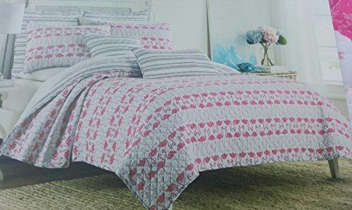 Cynthia Rowley Bedding Full Queen Quilt Set Flamingo Birds Tropical Beach  Coastal Pink Reversible Stripe Black