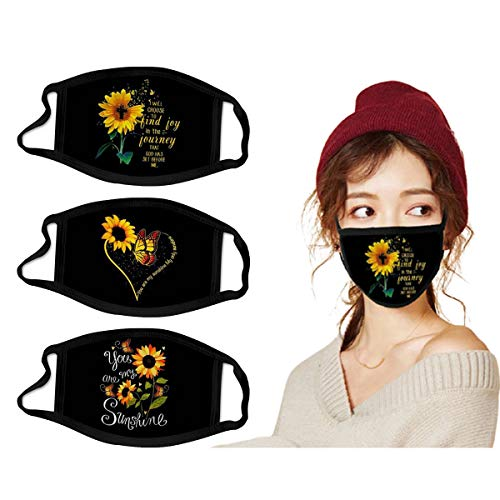 NJBRL 3 Pack Face Covering for Adults Washable Reusable Face Scarf Sunflower Pattern Mouth Covers Cotton Cloth Face Protection Equipment for Dust-Proof Exhaust