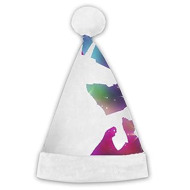 d878e460c575f Amazon.com  Christmas Hat Rainbow Unicorn Funny Designer Santa Hat Christmas   Clothing