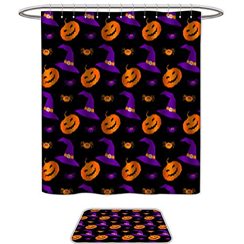 Shower Curtain and Mat SetHappy halloween abstract seamless pattern background Abstract halloween pattern for design card party invitation poster album menu t shirt bag print etc 1. Set of 2 Machine