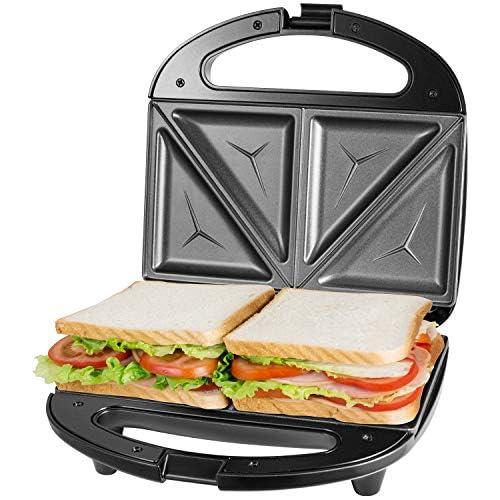 chollos oferta descuentos barato Sandwichera Electrica con Capacidad para 2 Sándwiches Tostados de 750W Toast Acero Inoxidable Antiadherente 2 Sandwiches y 2 Indicadores Luminosos Libre BPA Negro con Asas de Cool Touch