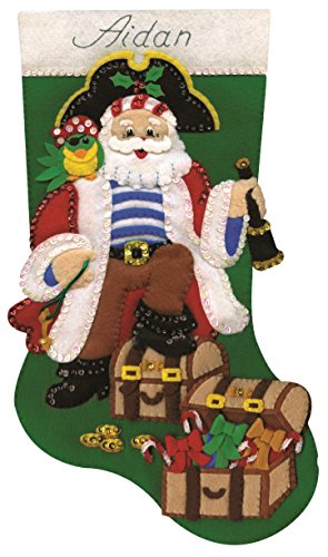 Tobin Pirate Stocking Felt Applique Kit, 18-Inch -