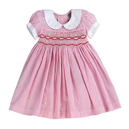 Infant and Toddlers Soft Gingham Hand Smocked Dresses | Primrose Parish's in Pink 12M