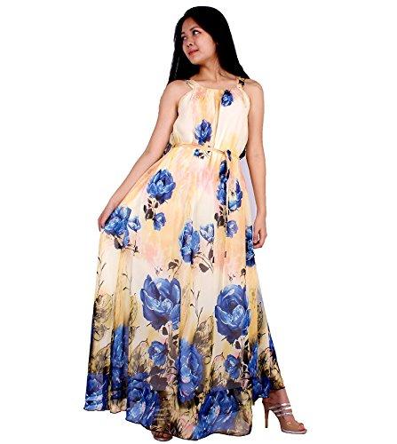 [MayriDress Women's Maxi Dress Long Summer Floral Plus Size Clothing (3X, Cream/ Blue Floral)] (Cheap Plus Size Fancy Dress)