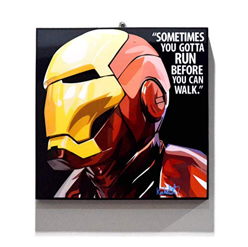 Pop Art Superhero Quotes - Iron Man Marvel Avengers Framed Acrylic Canvas Poster Prints Artwork Modern Wall Decor, 10