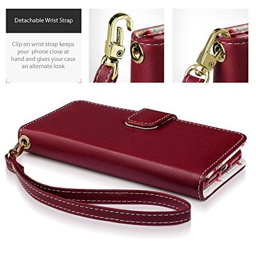 iPhone 7 Cover, Terrapin Premium di cuoio del raccoglitore per iPhone 7 Custodia Pelle, Colore: Rosso, Floreale Interno