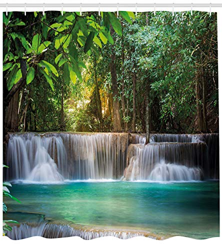 Ambesonne Waterfall Decor Shower Curtain by, Heaven Like Landscape of a Waterfall from Thailand with Exotic Trees, Fabric Bathroom Decor Set with Hooks, 70 Inches, Green and Blue (Waterfall Shower Curtain)