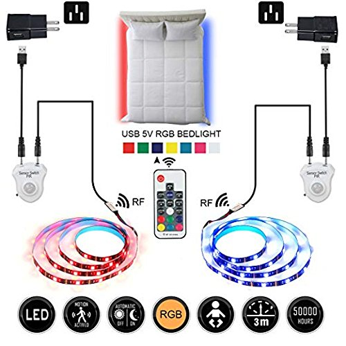 Motion Activated Bed Light, Topled Light Dimmable Under Bed Light 1.5m/4.9ft LED Strip with Auto Shut Off Timer and RF Controller, Night Light for Bedside, Stairs, Cabinet and Bathroom (RF Double Bed)
