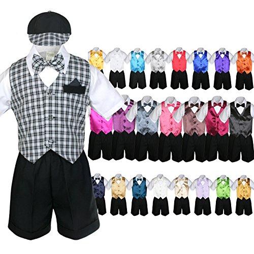 Unotux 7pc Baby Boy Black Formal Shorts Check Suits Extra Vest Bow Tie Sets S-4T (4T, Orange)