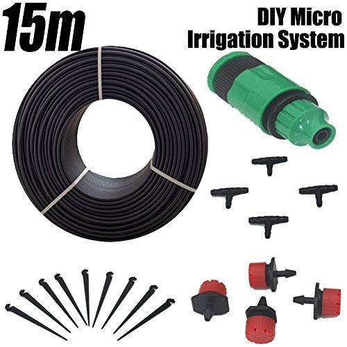 EverTrust(TM)DIY Micro Garden Drip Irrigation System 15m Watering Kits Sprinkler Water PE Hose Kit Automatic Dripper Plant Irrigator Nozzle