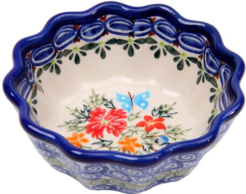 Polish Pottery Ceramika Boleslawiec, 0432/238, Bowl Babka Small, 1/2 Cup, Royal Blue Patterns with Red Cornflower and Blue Butterflies Motif