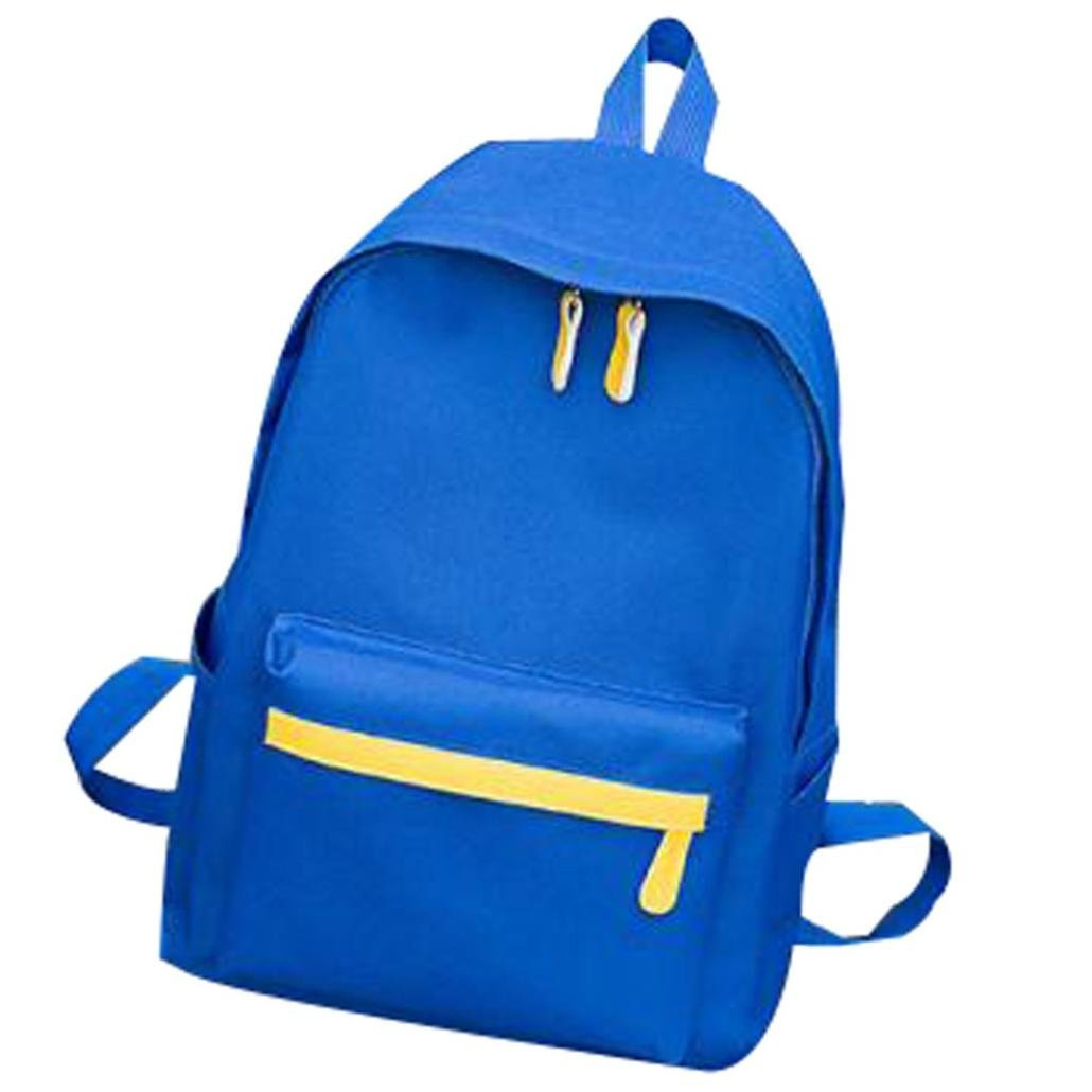 SUKEQ School Bag, Letter Printed Canvas Backpack, Great for High School, College Backpack, Laptop Backpack, Outdoor Travel Daypack for Teens Girls Boys (Blue)