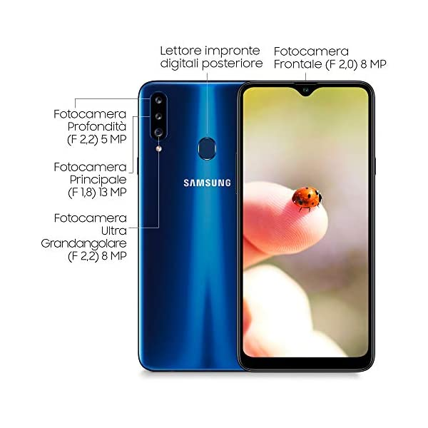 SAMSUNG Smartphone MÓVIL Galaxy A20S Blue – 6.5'/16.5CM – CAM (13+8+5)/8MP – OC 1.8GHZ – 32GB – 3GB RAM – Android – 4G…