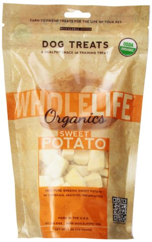 Whole Life Pet Single Ingredient Certified Organic Freeze Dried Sweet Potato Treats for Dogs, 4-Ounce