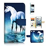 ( For iPod Touch 5 6 / iTouch 5 6 ) Flip Wallet Case Cover & Screen Protector Bundle - A21279 Unicorn White Horse