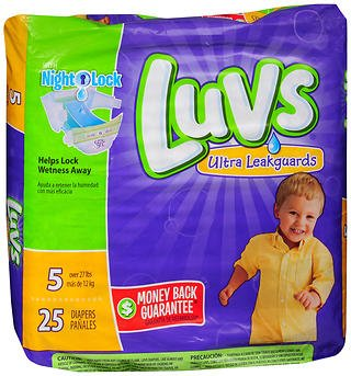 Luvs Ultra Leakguards Diapers Size 5-4 packs of 25, Pack of 6