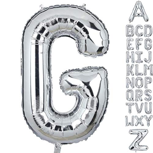 40 Inch Large Letter G Foil Balloons Silver Big Alphabet Mylar Helium Balloon for Birthday Party Decoration Supplies Wedding Decor Girls Custom Word HH(Sliver-G)]()