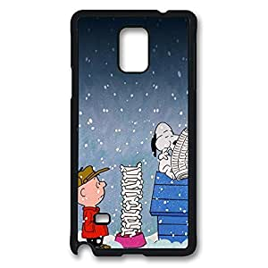 Galaxy Note 4 Case, Charlie Brown Christmas Snoopy Creativity Design Print Pattern Perfection Case [Anti-Slip Feature] [Perfect Slim Fit] Plastic Case Hard Black Covers for Samsung Galaxy Note 4