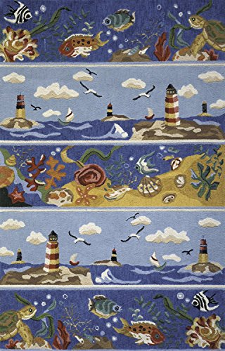 Momeni Rugs COASTCC-07BLU2030 Coastal Collection, 100% Cotton Hand Hooked Transitional Area Rug, 2' x 3', - Fish Momeni Coastal