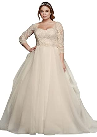 David\'s Bridal Oleg Cassini Plus Size Organza 3/4 Wedding Dress ...