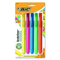 BIC Brite Liner Retratador resaltador, punta de cincel, colores surtidos, 5 unidades