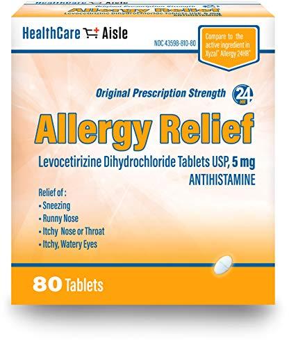 HealthCareAisle Allergy Relief Levocetirizine Dihydrochloride Tablets, USP | 24 Hour Allergy Relief | 5 mg | 80 Count