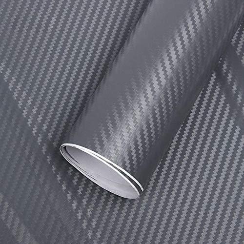 Grey color   152cm x 60cm Car Accessories 3D Carbon Fiber Vinyl Car Scroll Roll Film Car Sticker & Car Decals 60 cm X 152 127 cm Lot Motorcycle Styling  (color Name  Grey color, Size  152cm x 60cm)