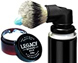 Legacy Shave - Evolution Brush & Aftershave Balm Gift Set - Universal Shaving Brush Engineered to Attach Directly to Shaving Cream Shaving Gel Cans - Best Razor Wet Shave Brush - 2 Piece Kit
