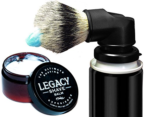 (Legacy Shave - Evolution Brush & Aftershave Balm Gift Set - Universal Shaving Brush Engineered to Attach Directly to Shaving Cream Shaving Gel Cans - Best Razor Wet Shave Brush - 2 Piece Kit)