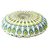 Ganesham Handicrafts- Round Floor Pillow Cushion, Indian Pouf, Decorative Mandala Pillow Shams, Handmade Pillow Case, Boho PIllow, Home Decor, Indian Mandala Tapestry, Round Seating Pouf Ottoman
