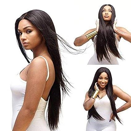 Peluca larga de pelo negro recto de 76 cm de largo, pelo sintético para mujeres