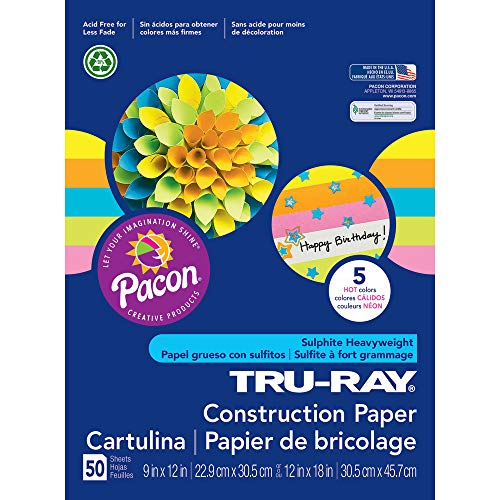 (Tru-Ray Heavyweight Construction Paper, 5 Assorted Hot Colors, 9