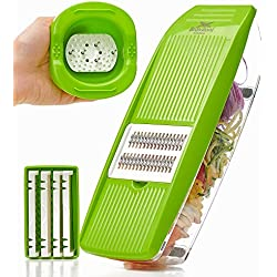 Mandoline Slicer - Premium Vegetable Potato Slicer Grater - Cutter for Tomato, Onion, Cucumber, Zucchini Pasta, Cheese - Julienne Veggie Peeler Chopper - Food Storage, 5 Blades & Hand Protector