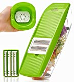 julienne vegetable slicer - Mandoline Slicer - Premium Vegetable Potato Slicer Grater - Cutter for Tomato, Onion, Cucumber, Zucchini Pasta, Cheese - Julienne Veggie Peeler Chopper - Food Storage, 5 Blades & Hand Protector