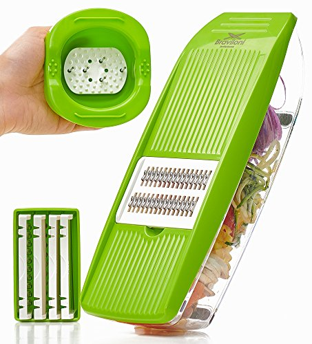 Slicer Potato (Mandoline Slicer - Premium Vegetable Potato Slicer Grater - Cutter for Tomato, Onion, Cucumber, Zucchini Pasta, Cheese - Julienne Veggie Peeler Chopper - Food Storage, 5 Blades & Hand Protector)