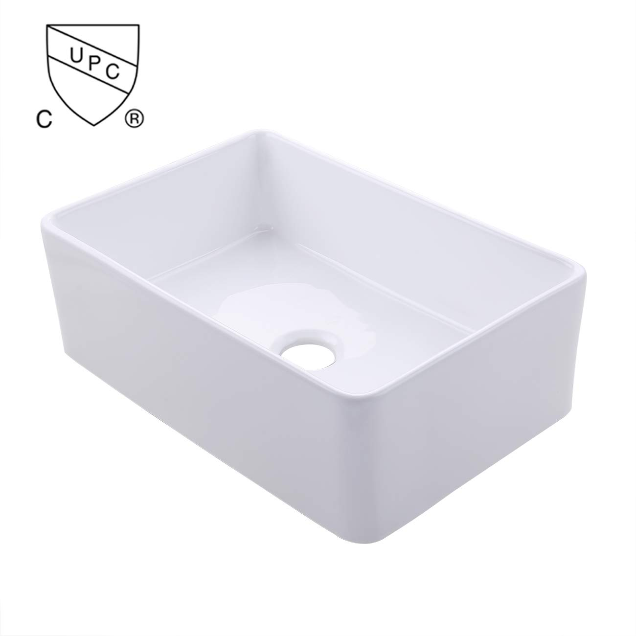 KES cUPC Fireclay Sink Farmhouse Kitchen Sink (30 Inch Porcelain Undermount Rectangular White) BVS117 by Kes (Image #2)