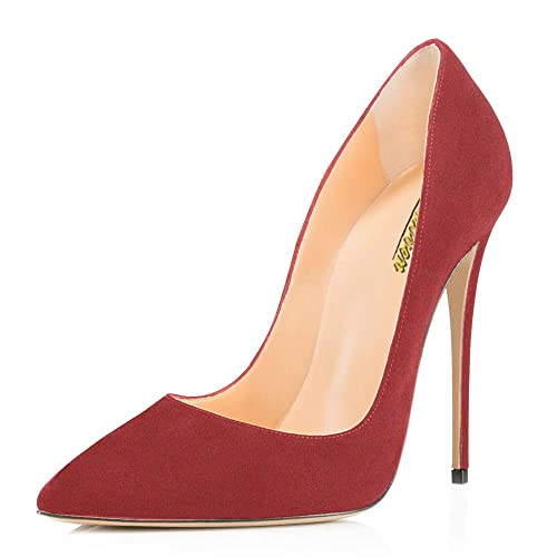 8e64afb9e9 Image Unavailable. Image not available for. Color: MODEMOVEN Women's Red  Suede Pointy Toe High Heels ...