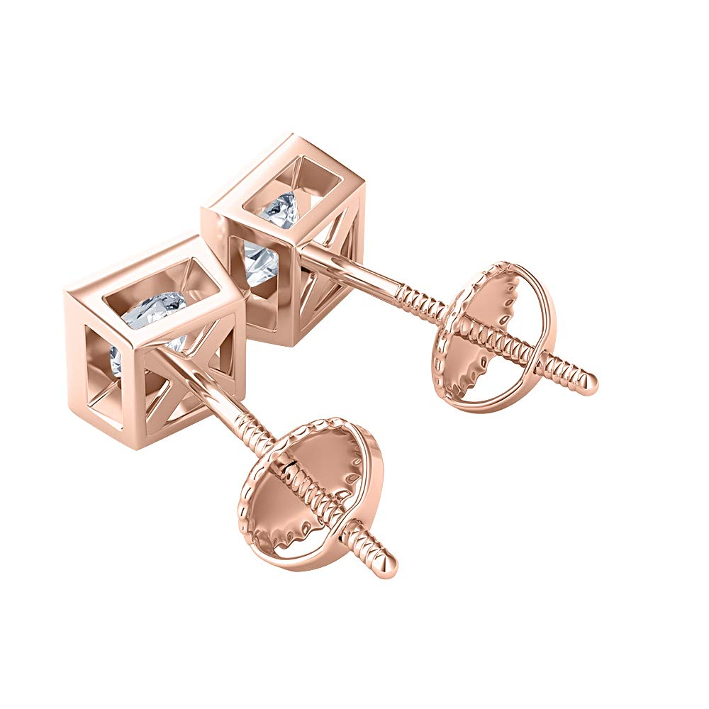 Bezal Set Princess Cut Created Gemstones Solitaire Stud Earrings 14K Rose Gold Over .925 Sterling Silver 8MM