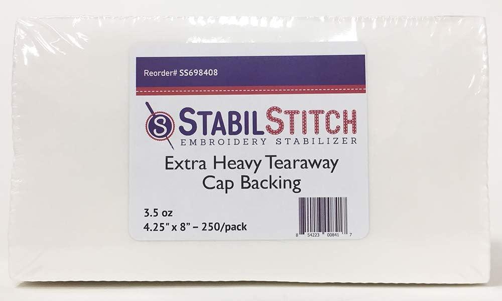 Heavy 3.0 oz. Tearaway Cap Backing 4.5 x 8 250//pack